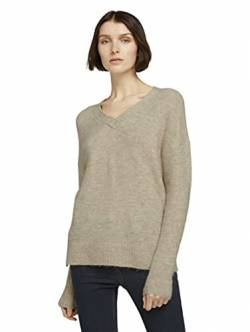 TOM TAILOR Denim Damen Cosy V-Neck Pullover, 24540-cozy beige Melange, XS von TOM TAILOR Denim