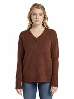 TOM TAILOR Denim Damen Cosy V-Neck Pullover, 24579-rust orange Melange, S von TOM TAILOR Denim