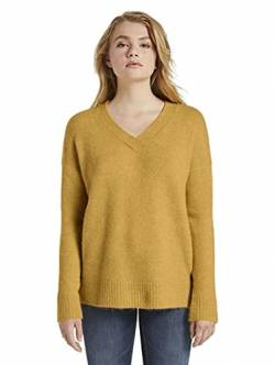 TOM TAILOR Denim Damen Cosy V-Neck Pullover, 24674-Indienn Spice Yellow, M von TOM TAILOR Denim