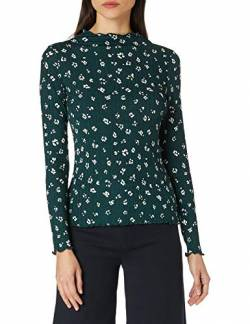 TOM TAILOR Denim Damen Langarm T-Shirt, 25367-Green Beige Flower Print, L von TOM TAILOR Denim