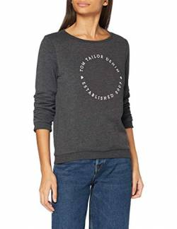 TOM TAILOR Denim Damen Logo Print Sweatshirt, 10522-Shale Grey Melange, M von TOM TAILOR Denim