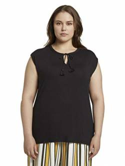 TOM TAILOR MY TRUE ME Damen T-Shirts/Tops Ärmellose Bluse mit Schleifen-Detail Deep Black,46 von TOM TAILOR MY TRUE ME