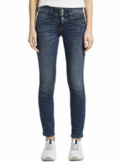 TOM TAILOR Damen Jeanshosen Alexa Slim Jeans Random Bleached Blue Denim,32/32 von TOM TAILOR