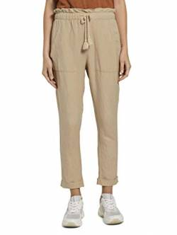 TOM TAILOR Damen Hosen & Chino Loose Fit Hose aus Leinengemisch Cream Toffee,44 von TOM TAILOR