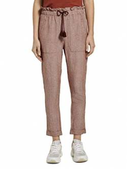 TOM TAILOR Damen Hosen & Chino Loose Fit Hose aus Leinengemisch Brown White Vertical Stripe,44 von TOM TAILOR