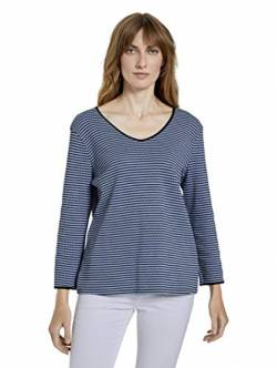 TOM TAILOR Damen Streifen-Struktur T-Shirt, 25347-blue Navy Popcorn st, L von TOM TAILOR