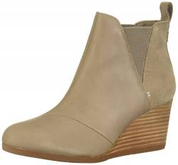 TOMS - Frauen Kelsey Bootie, 38.5 EU, Taupe Gray Leather/Suede von TOMS