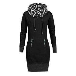 TOPKEAL Mode Damen Herbst Winter Brief Drucken Hoher Kragen Pullover Langarm Minikleid Sweatshirt Frauen Plus Größe Lässig Kurz Kleid Tops (B_Schwarz, XXXL) von TOPKEAL