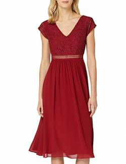 TRUTH & FABLE Damen Midi Chiffon-Kleid mit A-Linie, Rot (Rhabarber), 36, Label:S von TRUTH & FABLE