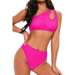 TSWRK Damen Bikini Set Zweiteiliger Cut Out Swimsuits One Shoulder Badeanzug High Waist Strandmode von TSWRK