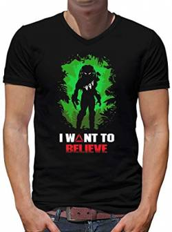 TShirt-People Predator I Want to Believe V-Kragen T-Shirt Herren L Schwarz von TShirt-People