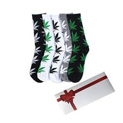 TTD 5 Packs Unisex Weed Leaf Printed Cotton Socks Maple Leaf Printed Socks With Gift Box Athletic Sports Marijuana High Crew Socks von TTD