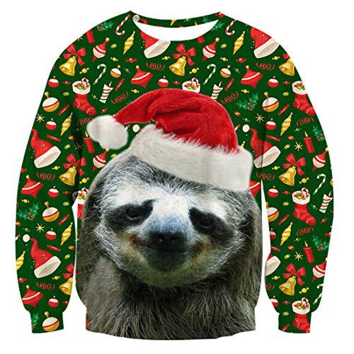 Ugly Christmas Sweater Herren Lustig Bier Weihnachten Langarmshirt