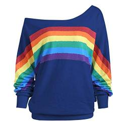 Damen Lose Rainbow Off Shoulder Pullover TWIFER Bluse Sweatshirt Langarm Shirts von TWIFER Damen