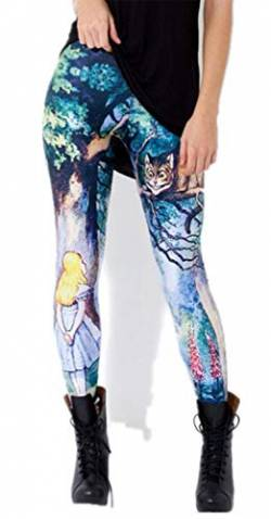 Tamskyt Damen New Unicorn Digital Printed Tight Leggings Stretch Hose Skinny Pants Workout Gr. One Size, Grinsekatze von Tamskyt