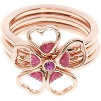 Damen Ted Baker Leotie Enamel Flower Stacking Ring ML rosévergoldet TBJ1243-24-73ML von Ted Baker Jewellery