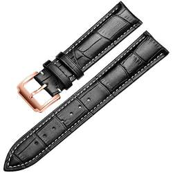 Wristband Soft Calf Dermal Strap 18-24 Mm Wristband Fittings Wristband, Rose-Black-A, 17 Mm von Tedbear