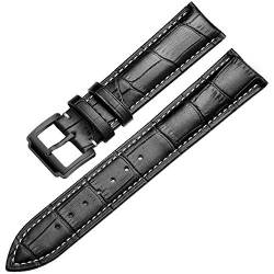 Wristband Soft Calf Dermal Strap 18-24 Mm Wristband Fittings Wristband, Schwarz-Weiß, 20 Mm von Tedbear