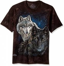 The Mountain Star Wolves Adult T-Shirt, Black, Medium von The Mountain