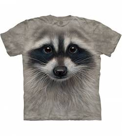 The Mountain Raccoon Face Adult T-Shirt, Grey, 3XL von The Mountain