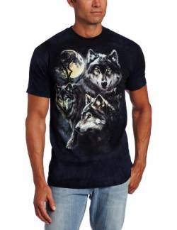 The Mountain Moon Wolves Collage Adult T-Shirt, Blue, XL von The Mountain