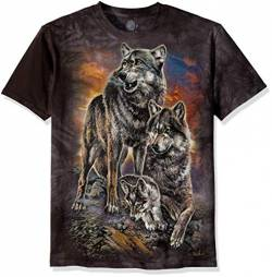 The Mountain Unisex-Erwachsene Wolf Family Sunrise T-Shirt, grau, Large von The Mountain