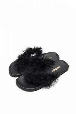 The White Brand Damen Feather Zehentrenner, Schwarz (Black Black), 39 EU von The White Brand