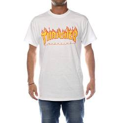 Thrasher Flame white T-Shirt, Wei, XL von Thrasher
