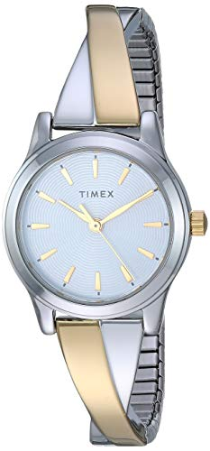 Timex Women's TW2R98600 Stretch Bangle Crisscross 25mm Two-Tone Expansion Band Watch von Timex