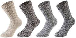 Tobeni 4 Paar warme Damen Herren Norweger Socken Wintersocken Schafwollsocken vorgewaschen Unisex Farbe Mehrfarbig Grösse 43-46 von Tobeni