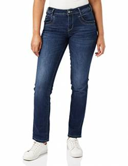 TOM TAILOR Damen Jeanshosen Alexa Straight Jeans Dark Stone wash Denim,28/34 von TOM TAILOR