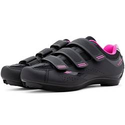 Tommaso Pista Women's Road Bike Cycling Spin Shoe Dual Cleat Compatibility - Black/Pink - 42 von Tommaso