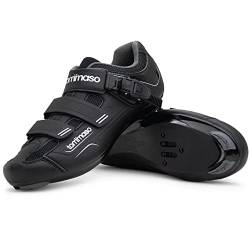Tommaso Strada 200 Dual Cleat Compatible Road Bike, Touring, Indoor Cycling Shoe with Buckle - 48 Black von Tommaso
