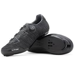 Tommaso Strada Elite Knit Quick Lace Style Road Bike Cycling Shoe, Dual Compatible with SPD, Delta, Black - 45 von Tommaso