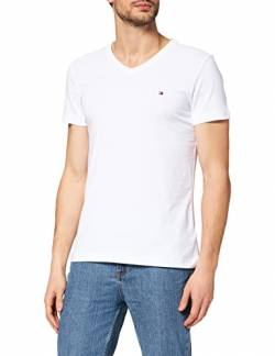 Tommy Hilfiger Herren CORE Stretch Slim Vneck Tee T-Shirt, Weiß (Bright White 100), Medium von Tommy Hilfiger