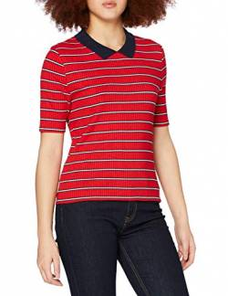 Tommy Jeans Damen TJW MODERN Fitted Polo Poloshirt, Rot (Flame Scarlet/Multi 910), Small (Herstellergröße: S) von Tommy Jeans