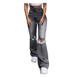 Tomwell Hosen High Waist Stretch Damenjeans, Engen Hohe Taille Ripped Jeans Bodenlange Bell Bottom Sexy Lady Loose Wide Leg Pants D Grau M von Tomwell