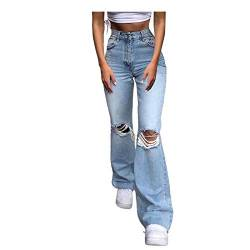 Tomwell Hosen High Waist Stretch Damenjeans, Engen Hohe Taille Ripped Jeans Bodenlange Bell Bottom Sexy Lady Loose Wide Leg Pants D Hellblau XXL von Tomwell