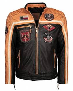 Top Gun Herren Lederjacke Mit Stickereien Tgj1005 Black/Orange/Offwhite,L von Top Gun