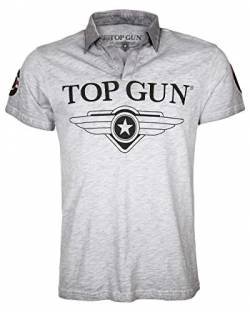 Top Gun Herren Polo Modern Star Grey Mélange,4XL von Top Gun