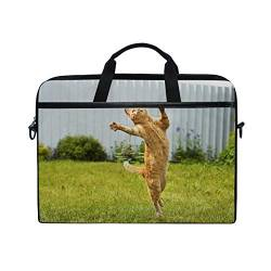 Irud Laptop-Tasche Spinning Jumping Cat Aktentasche Schultertasche Messenger Bag Tablet Business Tragetasche Laptop Sleeve für Damen und Herren (38,1-39,1 cm) von TropicalLife