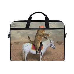 Irud Laptop-Tasche The Cat Cowboy Riding Horse Aktentasche Schultertasche Messenger Bag Tablet Business Tragetasche Laptop Sleeve für Damen und Herren (38,1-39,1 cm) von TropicalLife