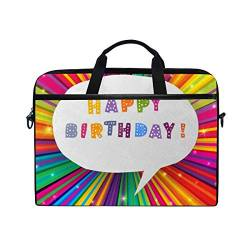 Irud Laptoptasche Happy Birthday Raindow Aktentasche Schultertasche Messenger Bag Tablet Business Tragetasche Laptop Sleeve für Damen und Herren (38,1 - 39,1 cm) von TropicalLife