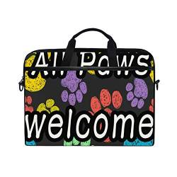 Irud Laptoptasche Welcome All Animal Paws Aktentasche Schultertasche Messenger Bag Tablet Business Tragetasche Laptop Sleeve für Damen und Herren (38,1 - 39,1 cm) von TropicalLife