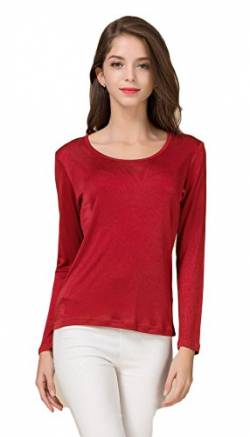 Frauen T-Shirt Rundhals Casual Knit Fabric Tops Walk Outside Burgunderrot M von Tulpen