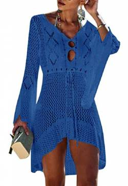 Tuopuda Bikini Cover Up Crochet Damen Strandkleid aushöhlen Stricken Swimsuit Sommerkleid mit V-Ausschnitt Strandrock Bell Sleeve Strandponcho Sommer Beachwear Bademode Strand Badeanzug von Tuopuda