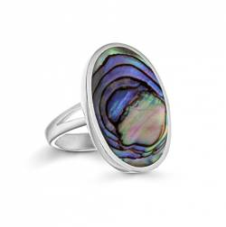 Tuscany Silver Ring Sterling Silber Oval Abalone - Größe P von Tuscany