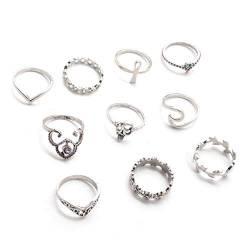 U-M PULABO Antique Silver Branch Crown Blätter Geschnitzte Ringe Set Flower Knuckle Finger Midi Ring für Frauen Schmuck 10 Stück im Set stilvoll und beliebt Bequem von U-M