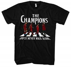 The Champions Männer und Herren T-Shirt | Liverpool Fussball Ultras England Salah Never Give Up (S) von Uglyshirt87