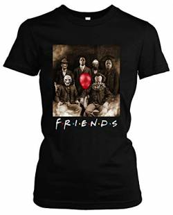 Friends Horror Damen Girlie T-Shirt | Horror Halloween Nightmare Freddy Michael Myers Jason Clown (XL) von Uglyshirt89